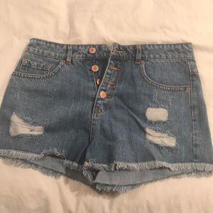High Waisted Button Up Shorts